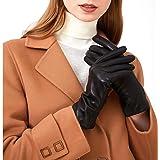ZLUXURQ Guanti da donna in pelle di cashmere, leggeri ed eleganti, adatti per l'uso quotidiano