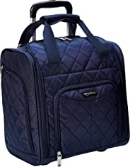 AmazonBasics 36 cm Navy Blue Quilted Underseat Cabin Softsided Trolley