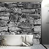 Murimage Fotobehang Stone 3D 366 x 254 cm inclusief behanglijm stenen wand zwart wit muur baksteen behang