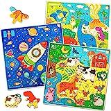 Quokka Puzzle Enfant 3 4 5 6 Ans - 3 Jeux Enfant 4 Ans en Bois - Puzzle 30 pièces Unique avec Animaux, Espace, Dinosaures