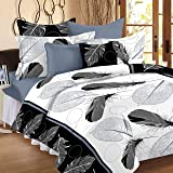 IVAZA Premium 160 TC Polycotton Latest Beautiful 3D bedsheet Double Bed with Two Pillow Covers(Picock White)