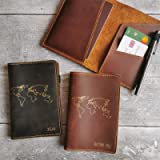Personalised World Map Distressed Leather Passport Cover Holder Wallet