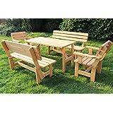 Len-Mar.de Garten Set nr 1 Sitzgruppe Lounge Set Sitzgarnitur Gartengarnitur Gartenmöbel Tisch Bank 1x Tisch + 2 x Bänke + 2 x Sessel (Garten Set 1)