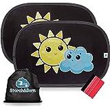 Auto Sonnenschutz von Storch&Born® | Premium Sonnenblende mit Andrückrakel und Aufbewahrungstasche | Selbsthaftende Sonnenschutzblende für Ihre Autoscheiben | 2 Stück - 48cm x 32,5cm