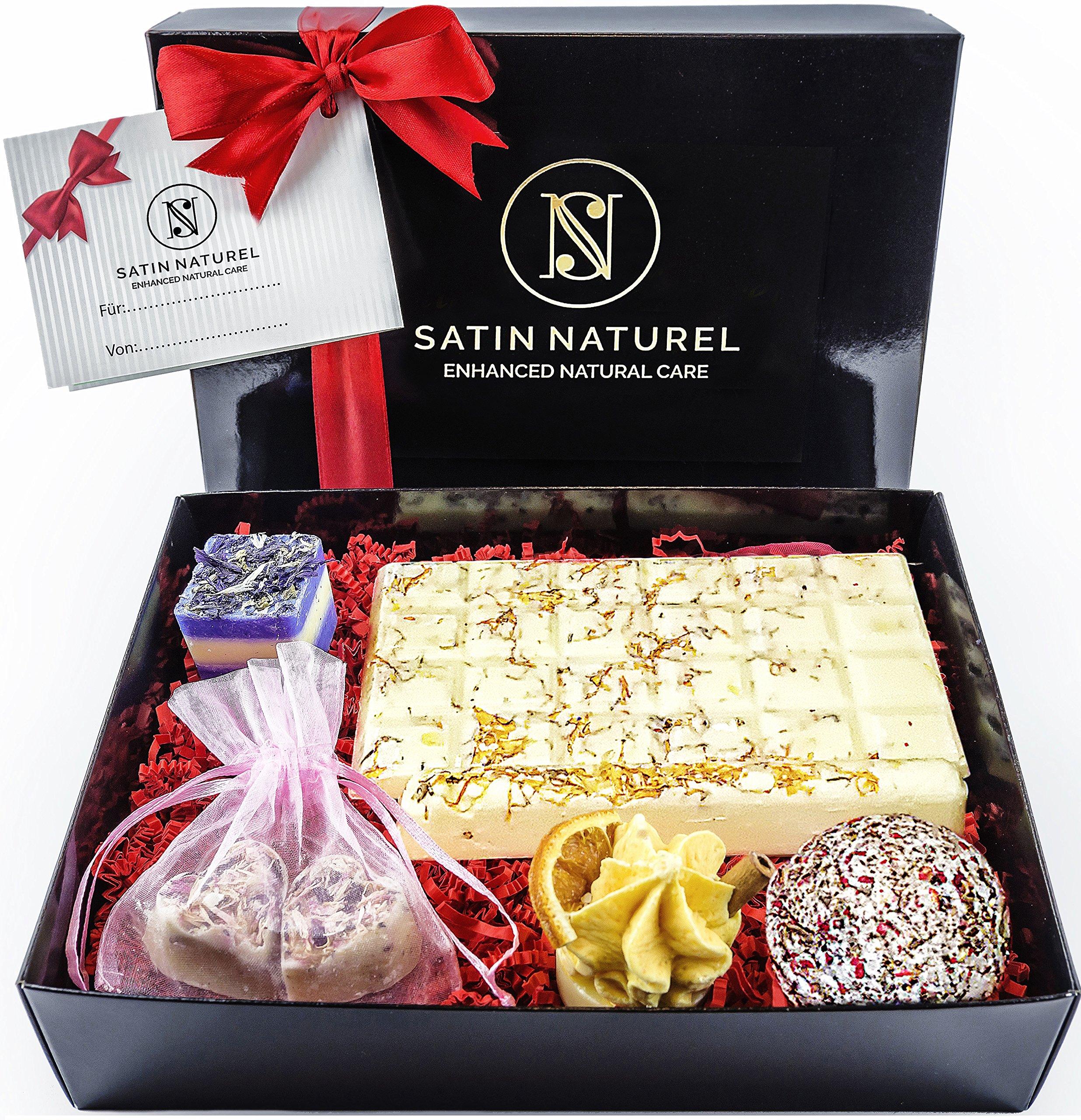 BIO Badepralinen 7er Geschenkset - Ideale Geburtstags Geschenk Idee für die Frau - Höchste Qualität von Satin Naturel…