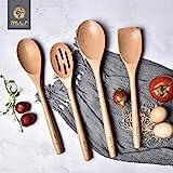 Ensemble d'ustensiles de cuisine en bois de hêtre, outils de cuisine, gadgets de cuisine 4 pièces cuillère et spatule Mix par