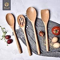 Ensemble d'ustensiles de cuisine en bois de hêtre, outils de cuisine, gadgets de cuisine 4 pièces cuillère et spatule…