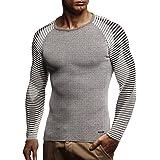Leif Nelson suéter de Jersey de Punto Fino de Cuello Redondo de los Hombres de LN-1830