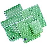 Chiffons Bambou Premium 4 Microfibres + 1 Éponge | Nettoyant et lustrant | Vitre, Lunettes, Vaisselle, Cuisine, Voiture, Meub