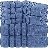 Utopia Towels - Lot de 8 Serviettes Bleues électriques - Serviettes à Rayures en Viscose - 600 GSM Ring Spun Cotton - Serviet