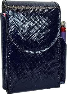 Portasigarette, porta pacchetto sigarette con porta accendino, Vera Pelle - Etabeta Artigiano Toscano - Made in Italy (blu elettrico lucido)