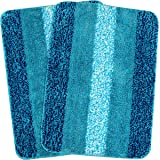 SARAL HOME EASY LIVING Striped Bath Mat (Turquoise, Microfiber, 50x70 cm)