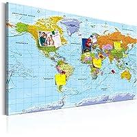 murando - deutsche Weltkarte Pinnwand & Vlies Leinwandbild 120x80 cm 1 Teilig Kunstdruck modern Wandbilder XXL…