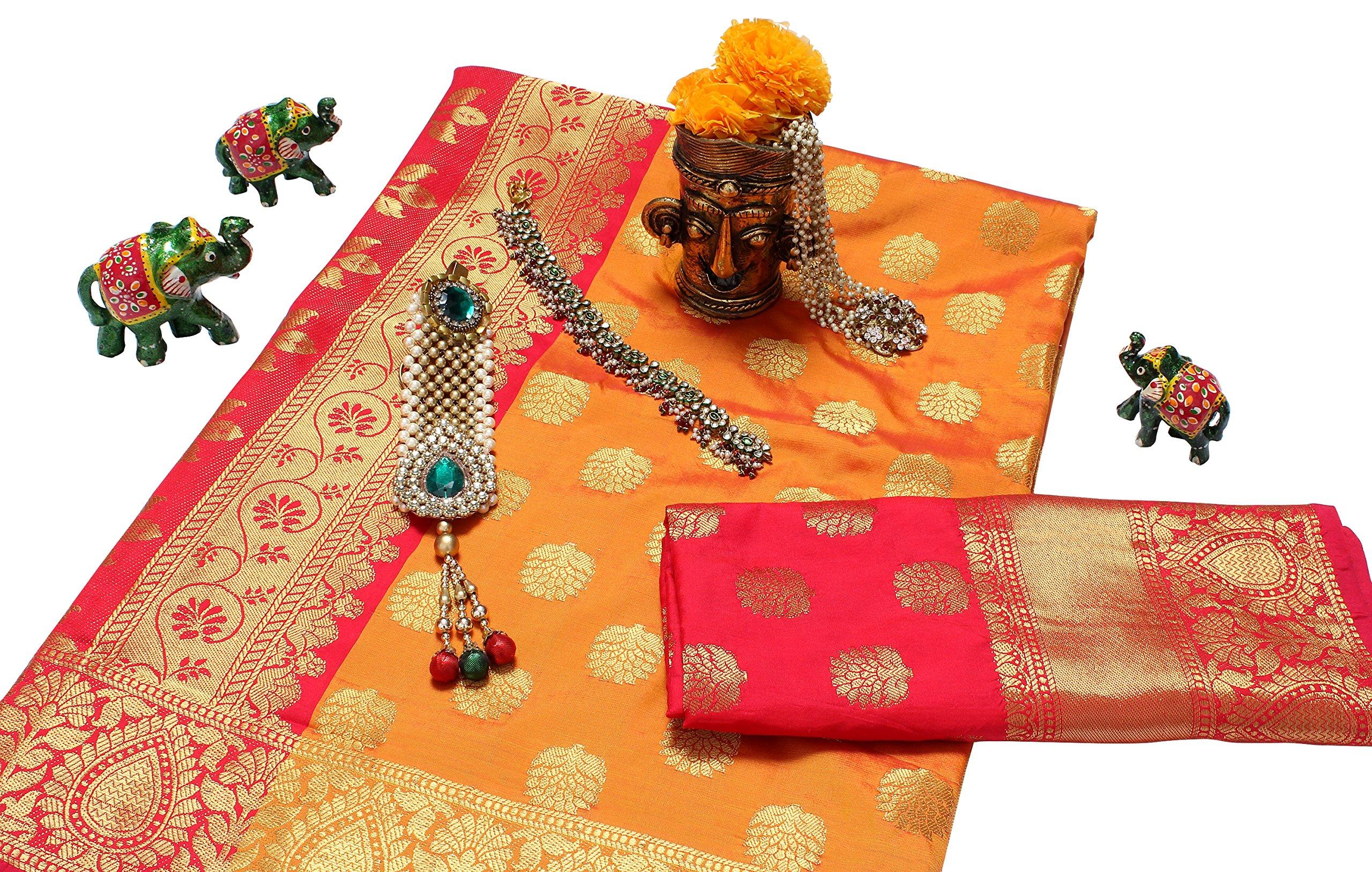5992d11eebfcc Home   Clothing and Accessories   Women   Ethnic Wear   Sarees   Banarasi  Saree (Varanas Special)   EthnicJunction Booti Work Zari Butta Banarasi Silk  ...