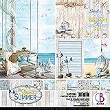CIAO BELLA PAPER Sum Pap PCK 12X12 Lot de 12 motifs pour l'été, 12 motifs chacun, taille unique
