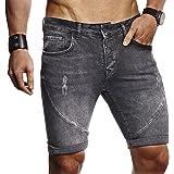LEIF NELSON Herren Sommer Kurze Jogger Jeans Hose Shorts Jeanshose Basic Hose 5-Pocket Destroyed Used Stretch Freizeithose LN9160