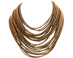 Zephyrr Tibetan Black Alloy Multi-Strand Necklace Silver Tone Glass Beaded