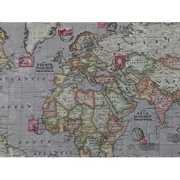 World Map Print Fabric.World Map Print Vintage Brown 100 Cotton Designer Curtains Bedding