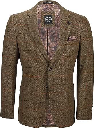 Xposed Mens Tweed Blazer Jacket Classic Retro Tan Oak Herringbone Checks Tailored Fit