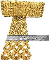 Crisskross Gotta Patti Lace Border, Cut Work/Zari/Copper/Designer for Dress/Sarees/Lehenga/Suits/Blouses and Craft 7cm X 9meters Approx Pack