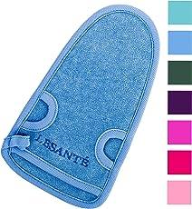 LESANTÉ Peelinghandschuh für Körper und Gesicht und Intimbereich | grob und rau | für Körperpeeling und Hamam | reinigt porentief | Massagehandschuh | Premium Wellness Handschuh (Blau)