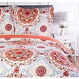 Amazon Basics Parure de lit avec housse de couette en microfibre, 140 x 200 cm, Rose corail (Coral Medallion)