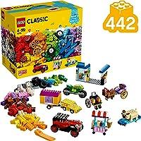 LEGO 10715 Classic La boîte de Briques et de Roues colorées, Jeu de Construction avec pneus et Roues - 448 pièces