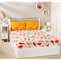 Amazon Brand - Solimo Lily Bloom 144 TC 100% Cotton Double Bedsheet with 2 Pillow Covers, Brown