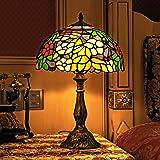 Gweat Tiffany 12-Pouce Style Pastoral Vitrail Coloré Floral Lampe De Table Lampe De Chevet