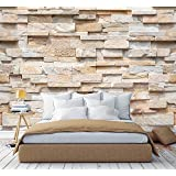 murimage Fotobehang stenen 3D 274 x 254cm inclusief lijm stenen muur optiek patroon bruin beige nobele keuken slaapkamer woon