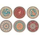 "Real Art Wall Hanging Ceramic Plates 7"" (6pcs Set) Multicolor (Design 5)"