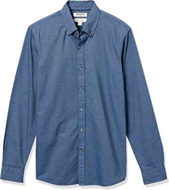 Goodthreads Men's Slim-fit Long-Sleeve Placed-Stripe Pocket Oxford Shirt