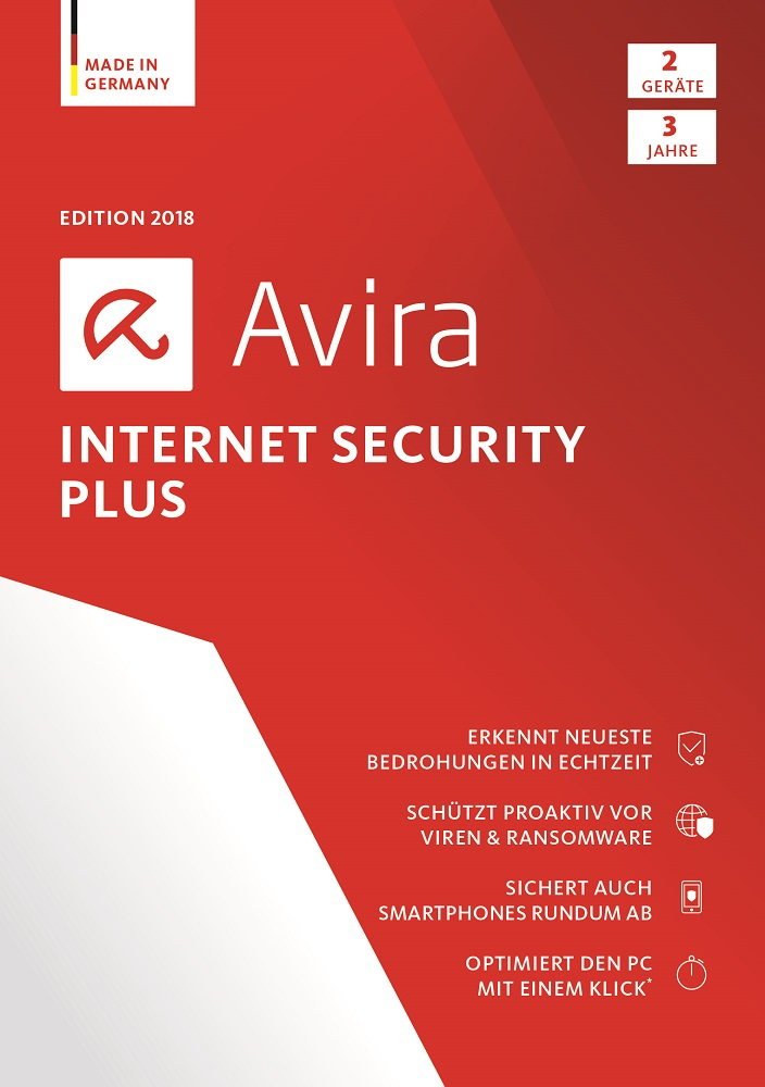Avira Internet Security Plus Edition 2018 / Sicheres Virenschutzprogramm inkl. Avira System Speedup (3-Jahres-Abonnement) für 2 Geräte / Download für Windows (7, 8, 8.1, 10), Mac & Android [Online Code]
