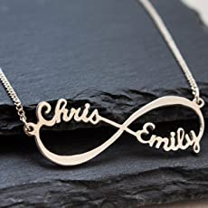 Infinity - Unendlich Namenskette Sterling Silber, Personalisiert Unendlich Kette mit Ihren eigenen 2 Namen