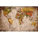 GREAT ART® XXL Poster – Retro Wereldkaart – Muurfoto Used Look Decoratie Globe Continenten Atlas Wereldkaart Old School Vinta