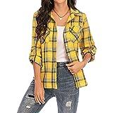 Camisa Cuadros Mujer Franela 100% Algodón Camisa Leñador Blusas Basiccon Botones Camisetas Cuello en V Manga Larga Casual Ofi