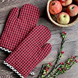 Pixel Home Micro Check Cotton Oven Mitten with Pot Holder (Red & Black)