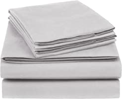 AmazonBasics 225 Thread Count Essential Cotton Blend Bed Sheet Set, King, Light Grey