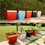 Ecofynd® 12 inches Midland Metal Planter | Indoor Outdoor Balcony Tapered Plant Pot | Home Garden Office Flowering Container Cover, Multicolor, Set of 5
