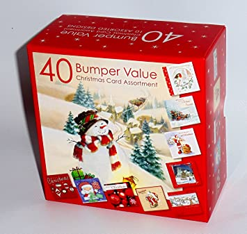 Bumper Box of 40 Assorted Christmas Cards Cute Traditional Adult ...