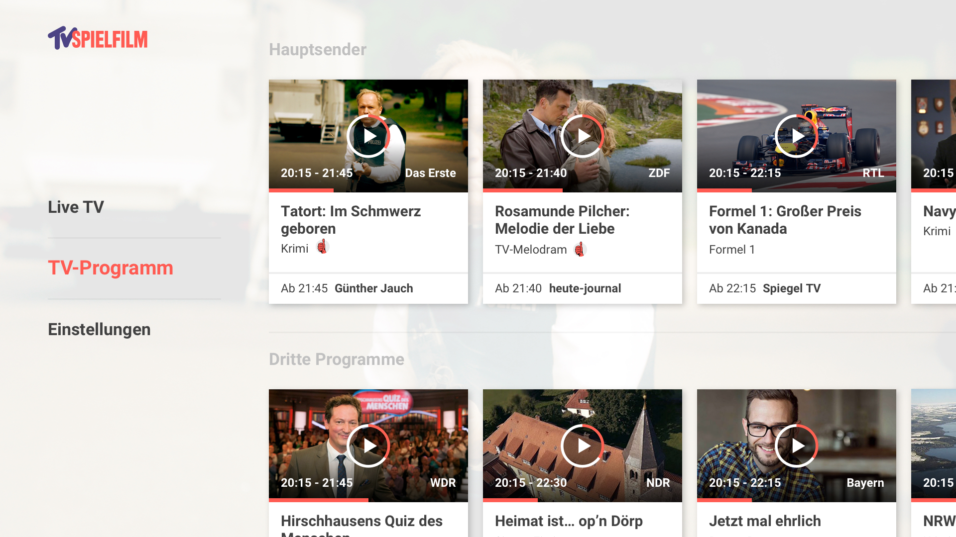 tv spielfilm tv programm mit live tv apps. Black Bedroom Furniture Sets. Home Design Ideas
