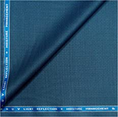 Raymond TechnoSmart All Weather Fabric with Silky Touch + U V Light Reflection + Moisture Management + Easy Care Blue Unstitched Trouser Fabric - 1.25 Metres