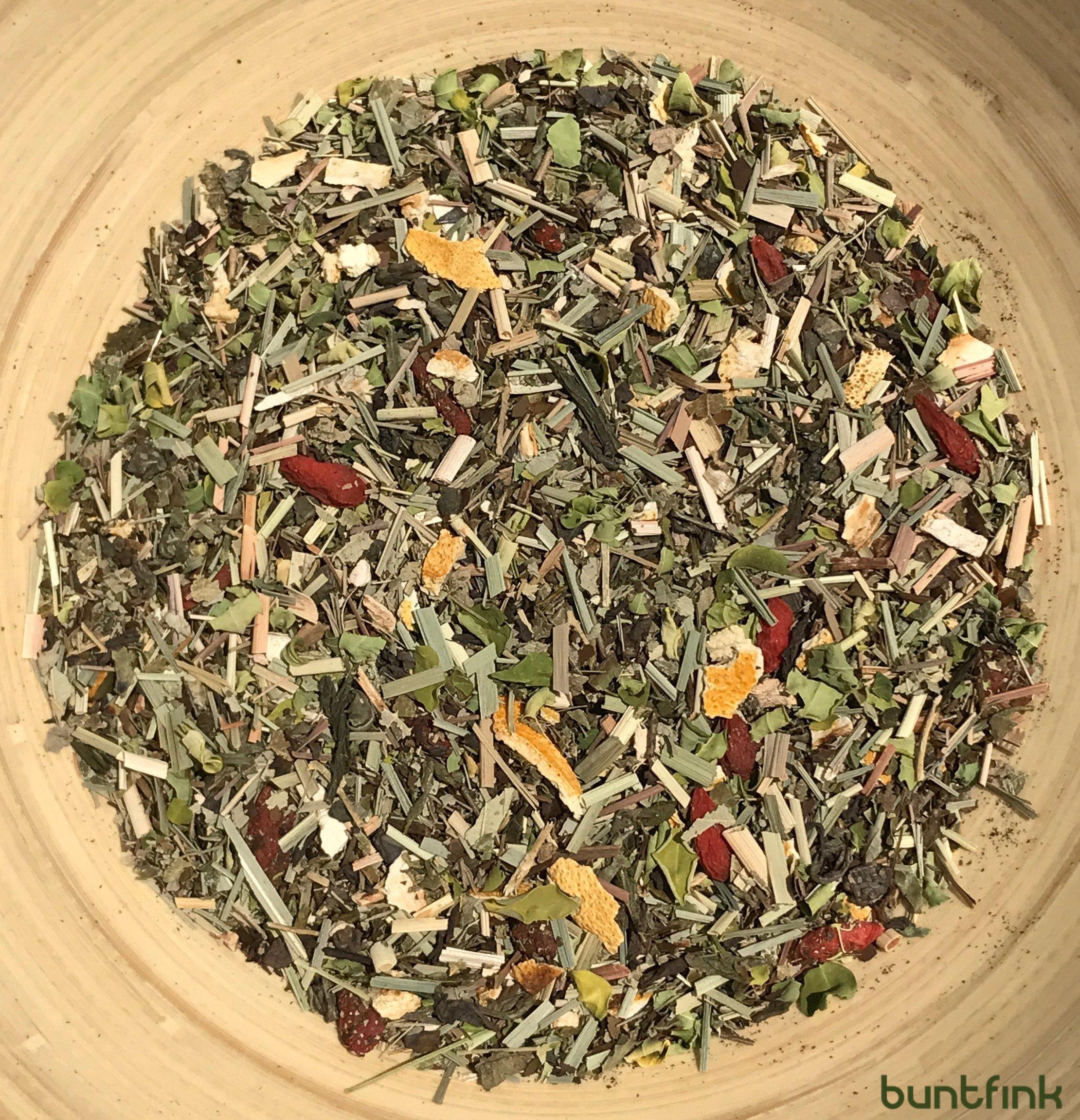 Buntfink-BoostUp-Morgen-Tee-mit-Koffein-Teein-Yerba-Mate-Sencha-Grntee-Goji-Moringa-100-natrlicher-Krutertee-aus-Deutschland-60g-loser-Tee