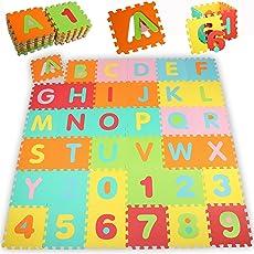 KIDUKU® Tappeto Puzzle 86 pezzi con numeri e lettere colorati in morbida gomma EVA resistente, isolante, lavabile – Tappeto da gioco per bambini Superficie gioco Tappeto per giocare Tappeto colorato