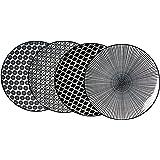 Ritzenhoff & Breker Lot DE 4 Plaques de Service Porcelaine, Blanc et Noir, 27x 27x 2cm
