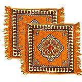 COZY FURNISH 2 Piece Velvet Pooja Aasan Mat Set - Size 2 x 2 Feet (Golden), Floor Mat, Floor Rug