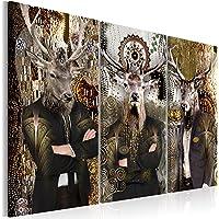 decomonkey | Impression sur Toile intissée Abstrait Cerf 60x40 cm | 3 Piece | Tableau Mural Image sur Toile Photo Images…