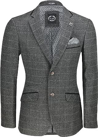 Xposed Mens Black Tweed Check Blazer [36 UK, 46 EU,BLZ-DRACO-8-BLACK]
