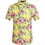 SSLR Camisa Hawaiana Colorida de Manga Corta de Flores de Verano de Hombre