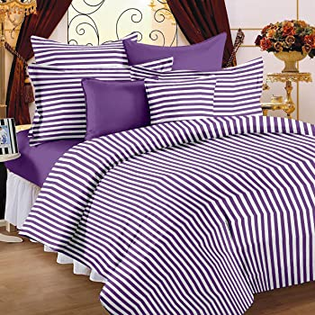 Story@Home Magic Collection  Standard 152 TC 100% Cotton Striped Double Bedsheet With 2 Pillow Cover - Purple